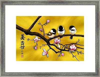 Chickadee On Blooming Magnolia Branch Framed Print