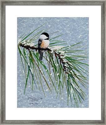 Framed Print featuring the painting Chickadee Set 8 - Bird 1 - Snow Chickadees by Kathleen McDermott