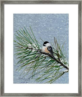 Framed Print featuring the painting Chickadee Set 8 - Bird 2 - Snow Chickadees by Kathleen McDermott