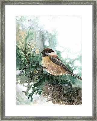 Framed Print featuring the painting Chickadee by Sherry Shipley