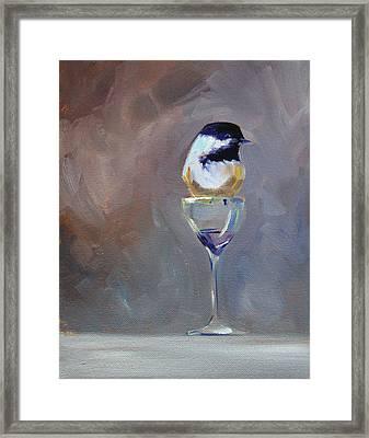 Chickadee Wine Framed Print by Nancy Merkle