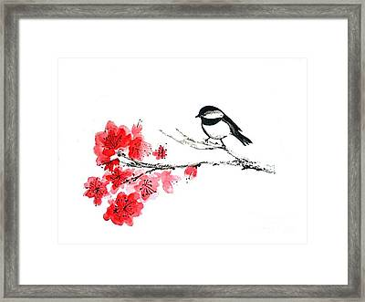 Framed Print featuring the painting Chickadee With Plum Blossom by Sibby S