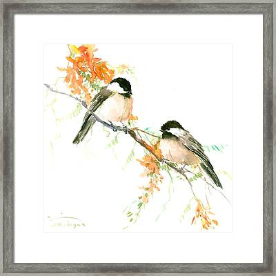 Chickadees And Orange Flowers Framed Print