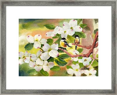 Chickadees In The Dogwood Tree Framed Print by Eileen  Fong