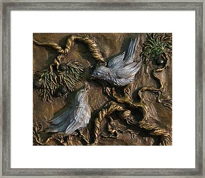 Framed Print featuring the relief Chickadees On Juniper With Berries  by Dawn Senior-Trask