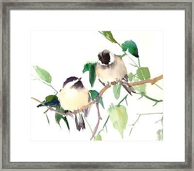 Chickadees Framed Print by Suren Nersisyan