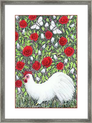 Chicken And Butterflies In The Flowers Framed Print