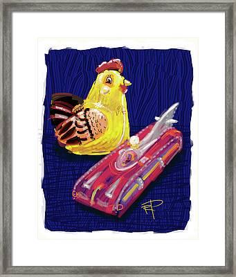 Chicken And Rocket Car Framed Print