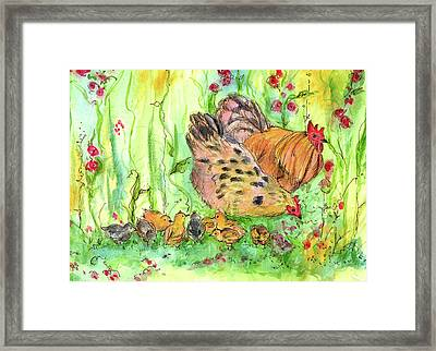 Framed Print featuring the painting Chicken Family by Cathie Richardson