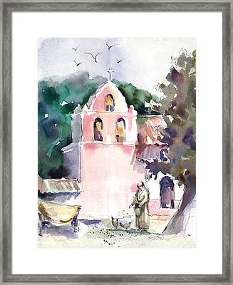 Chicken Feed Framed Print by Joan  Jones