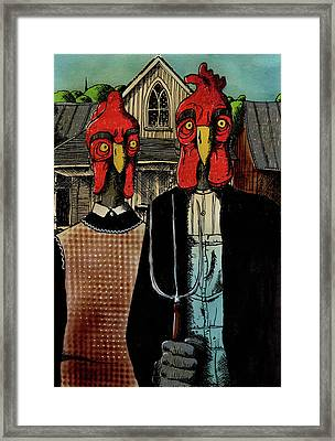 Chicken Gothic Framed Print by Bizarre Bunny