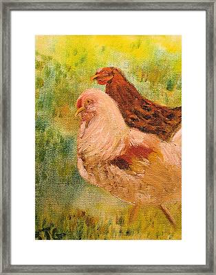 Framed Print featuring the painting Chicken Love by Barbara Giordano