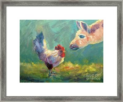 Chicken Meets Llama Framed Print