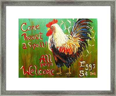 Chicken Welcome 3 Framed Print by Belinda Lawson