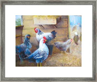 Framed Print featuring the painting Chickens All Cooped Up by Oz Freedgood