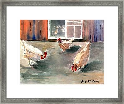 Chickens In The Barnyard Framed Print by George Markiewicz