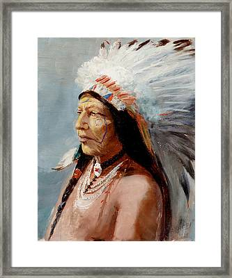Chief Flying Eagle Of The Blackfoot Tribe Framed Print by Lewis A Ramsey