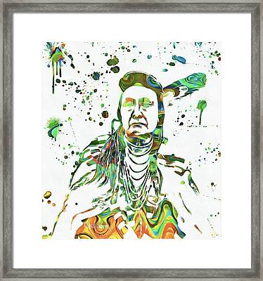Chief Joseph Paint Splatter Framed Print by Dan Sproul