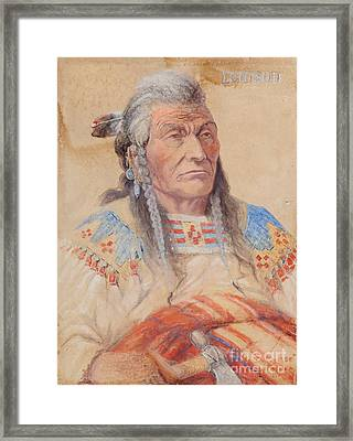 Chief Louison - Flathead Framed Print by Edgar S Paxson