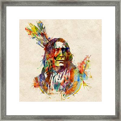 Chief Mojo Watercolor Framed Print by Marian Voicu