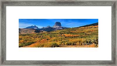 Chief Mountain Fall Panorama Framed Print by Adam Jewell