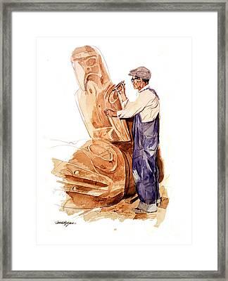 Chief Mungo Martin Totem Carver Framed Print
