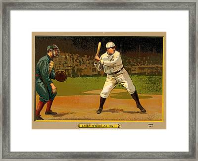 Chief Myers At Bat Framed Print by Charles Shoup