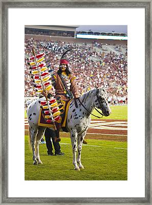 Chief Osceola And Renegade On Bobby Bowden Field Framed Print by Frank Feliciano
