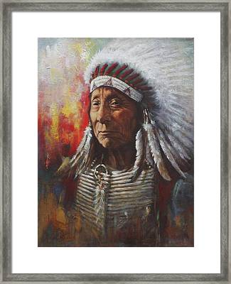 Chief Red Cloud Framed Print by Harvie Brown