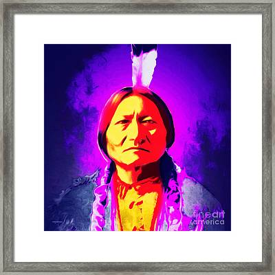 Chief Sitting Bull 20160103 Square Framed Print by Wingsdomain Art and Photography