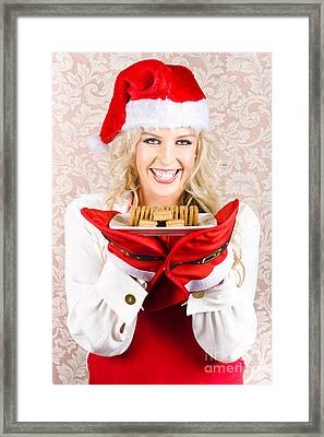 Chief Woman Wearing Xmas Hat Holding Biscuit Plate Framed Print