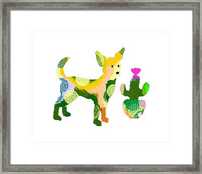 Chihuahua And Cactus Framed Print