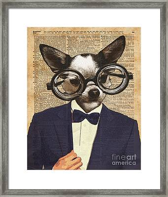 Chihuahua Hipster Dictionary Art Framed Print