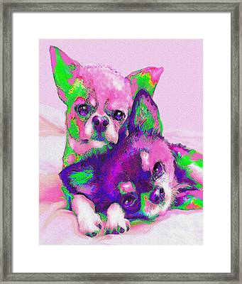 Framed Print featuring the digital art Chihuahua Love by Jane Schnetlage