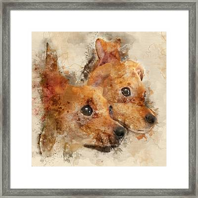 Chihuahua Twins - Digital Watercolor Dog Portrait Framed Print