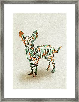 Chihuahua Watercolor Painting / Typographic Art Framed Print