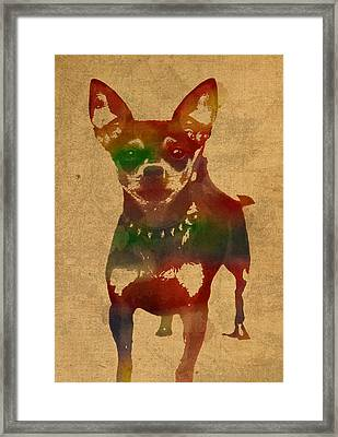 Chihuahua Watercolor Portrait On Worn Canvas Framed Print by Design Turnpike