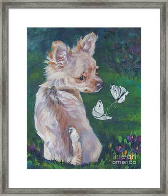Chihuahua With Butterflies Framed Print