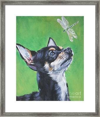 Chihuahua With Dragonfly Framed Print by Lee Ann Shepard