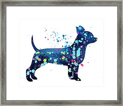 Chihuauua Watercolor Silhouette Painting Framed Print by Donald Erickson
