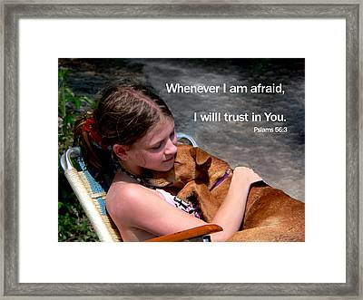 Child And Puppy Psalms Framed Print