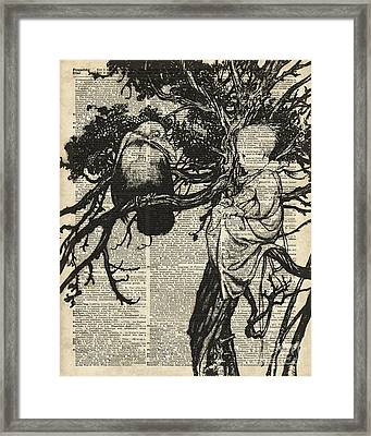 Child And Raven Framed Print by Jacob Kuch