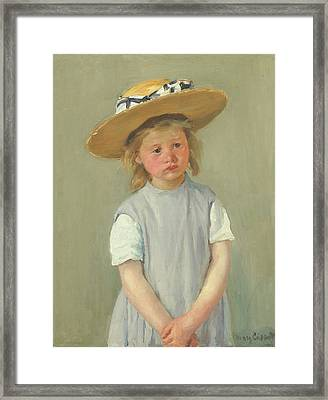 Framed Print featuring the painting Child In A Straw Hat By Mary Cassatt 1886 by Movie Poster Prints