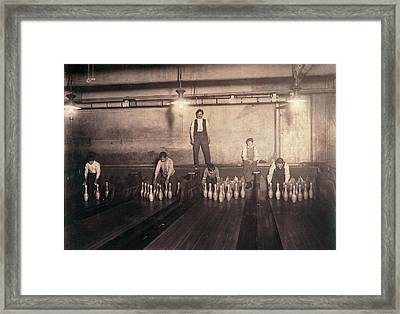 Child Labor, Pin Boys At A Bowling Framed Print by Everett