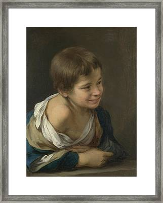 Child Looking Out The Window Framed Print