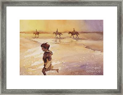 Framed Print featuring the painting Child On Beach- Ocracoke Island, Nc by Ryan Fox