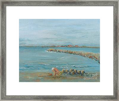 Child Playing At Provence Beach Framed Print by Nadine Rippelmeyer