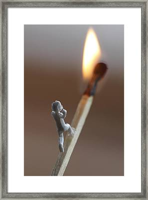 Child Running On A Match Towards The Flame Framed Print