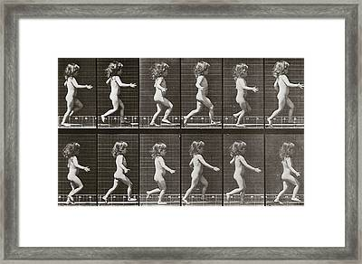 Child Running, Plate 469 From Animal Locomotion, 1887 Framed Print