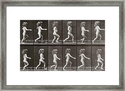 Child Running, Plate 469 From Animal Locomotion, 1887 Framed Print by Eadweard Muybridge